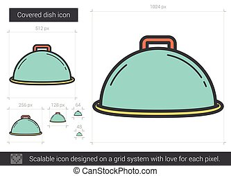 Covered dish line icon.