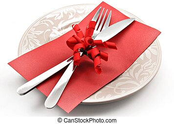 Covered dish and gift card surrounded by white background