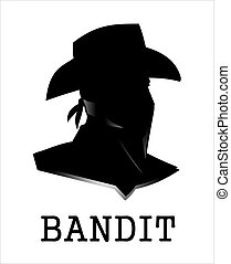 covered face bandit head silhouette with scarf .