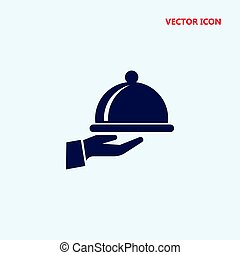 covered food tray on a hand of hotel room service vector icon