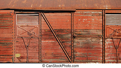 Covered goods wagon as background