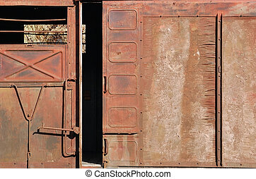 Covered goods wagon, sliding door