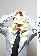 Covered - Man covered in yellow notes