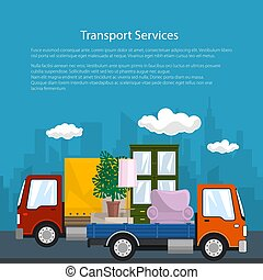 Covered Truck and Lorry with Furniture, Poster