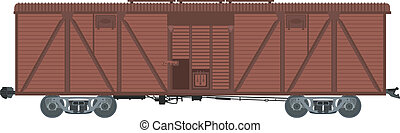 Covered waggon - Vector image of brown big covered waggon