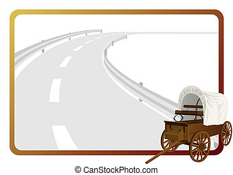 Covered wagon - An old covered wagon in the background of a...