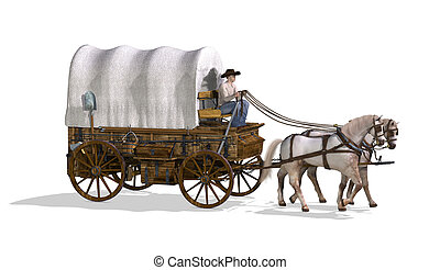 Covered Wagon - An old west covered wagon - 3d render.