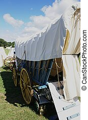 Covered wagon  - Revolutionary War reenactment campsite.