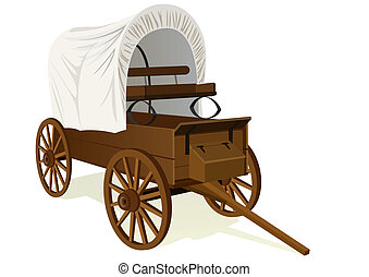 Covered wagon - Vintage van to transport people and things. ...