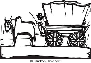 Western woodcut style image of a covered wagon and ox.