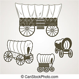 Covered Wagons - Clip art of four different covered wagons