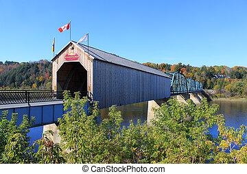 Covered Wooden Bridge in Florenceville, New Brunswick - ...