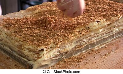 Covering big layered dessert with crumbs. Biscuit crumbs and...