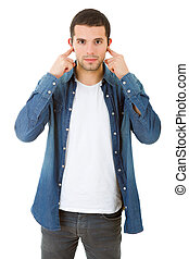 covering his ears - handsome young man covering his ears,...
