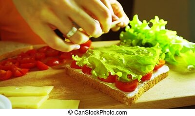 Covering sandwich with cheese slices and bread, close up shot