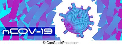 covid-19 3d virus cell abstract vector background