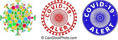 Covid-19 Alert Textured Seal Stamps and Contagious Virus Mosaic of Christmas Symbols