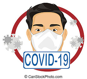 covid-19 and man in mask and flying virus