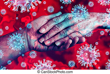 Covid-19 and seniors as elderly coronavirus outbreak patient with caregiver concept as a medical Intervention as a health care symbol as the hand of an old person with 3D illustration elements.