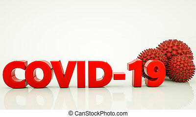 Covid 19 and three-dimensional virus models on a white background. coronavirus pandemic concept 3d render illustration