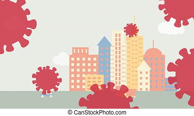 Animation of coronavirus cells over cityscape with road traffic background. Global coronavirus Covid 19 pandemic education concept digitally generated image.