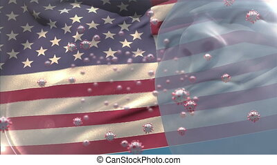 Covid-19 cells and human head model against US flag waving...