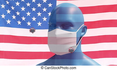 Covid-19 cells and human head model wearing face mask ...