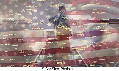 Covid-19 concept texts and US flag waving against woman ...