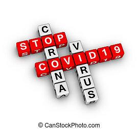 COVID-19 corona virus 3D crossword puzzle