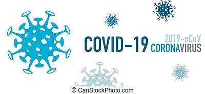 Covid-19 Coronavirus 2019-nCoV Banner with virus icons