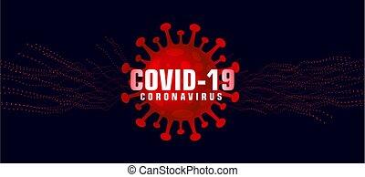 covid-19 coronavirus background with microscopic red virus