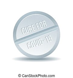 COVID 19 Coronavirus Cure drug concept in one tablet.