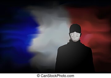 COVID-19 coronavirus epidemic in France. Global COVID-19 coronavirus pandemic, pneumonia. Silhouette of man in medical mask on abstract french flag background. Banner design concept. Vector