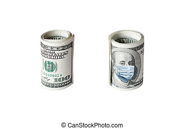 COVID-19 coronavirus in USA. Roll of hundred dollars money bill with face mask.