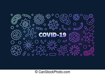 COVID-19 Coronavirus outline colored vector horizontal banner on dark background