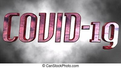 COVID-19 (Coronavirus) Chinese Virus, Large Red 3D Text Looping Animation, Smoke Moving Background - DCi 4K