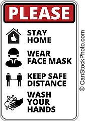 Covid-19 Danger Signs Set - Warning of Covid-19 icons. Keep ...