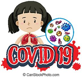 covid-19, diseño, niña, malo, fuente, pulmones