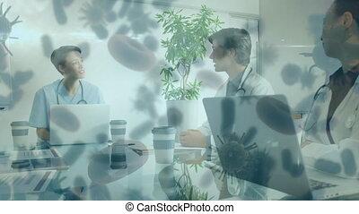 covid-19, en mouvement, équipe, cellules, médecins, discuter, contre