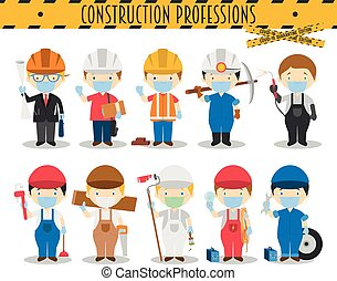 Covid 19 Health Emergency Special Edition: Vector Set of Construction Professions with surgical masks and latex gloves in cartoon style