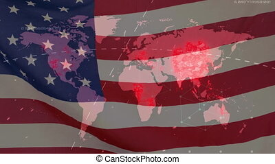 Covid-19 infection spreading over world map against US flag ...