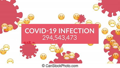 Animation of coronavirus cells with speech bubble showing Covid 19 infection cases and emoji icons with face masks. Global coronavirus Covid 19 pandemic education concept digitally generated image.
