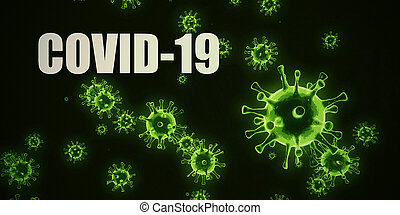 Covid-19 Infectious Disease Concept in Black and Green