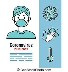 covid 19 infographic with person sick and icons
