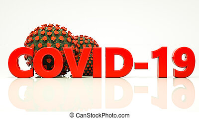 covid-19 inscription and three-dimensional model of coronavirus on a white background. pandemic concept. 3d render illustration