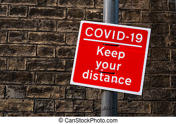 Covid-19 keep apart red sign to encourage social distancing, Cambridge