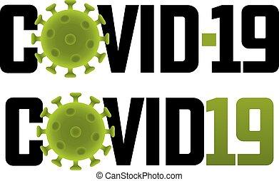 Covid-19 logo illustration with virus molecule
