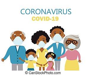 covid-19., médico, protector, prevenir, familia , llevando, ...