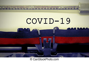 covid-19, machine écrire, inscription, vieux