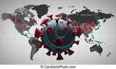 covid-19, macro, animation, mondiale, portée, sur, cellule, ...
